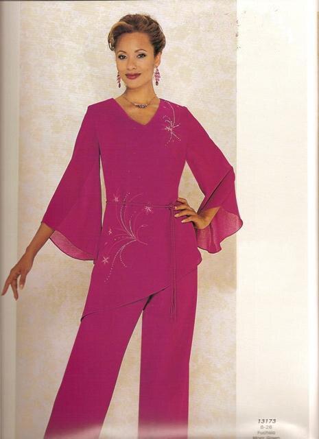 Fabuloso Fucsia Pantalones Trajes de Fiesta de Noche de Gasa Madre de la  Novia Pant Suits dc46f436727