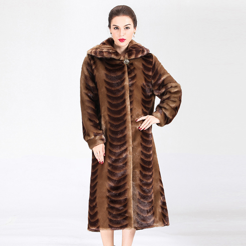 Newest Arrival Turn Down Collar Slim Full Pelt Coffee Color Mink Fur Coat Middle Aged Women Fashion Mink Fur Outerwear XHSD 259