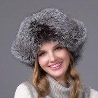 Women's Leather Silver Fox Fur Hooded Down Cap Winter Earmuffs Bags Hats Discoloration Russian Women's Outdoor Cap HJL 07