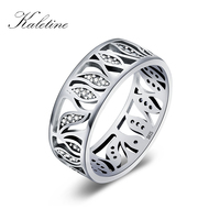 Kaletine 925 Sterling Silver Ring Leaf Cubic Zirconia Oxidized Vintage Flower Ring For Women Sterling Silver