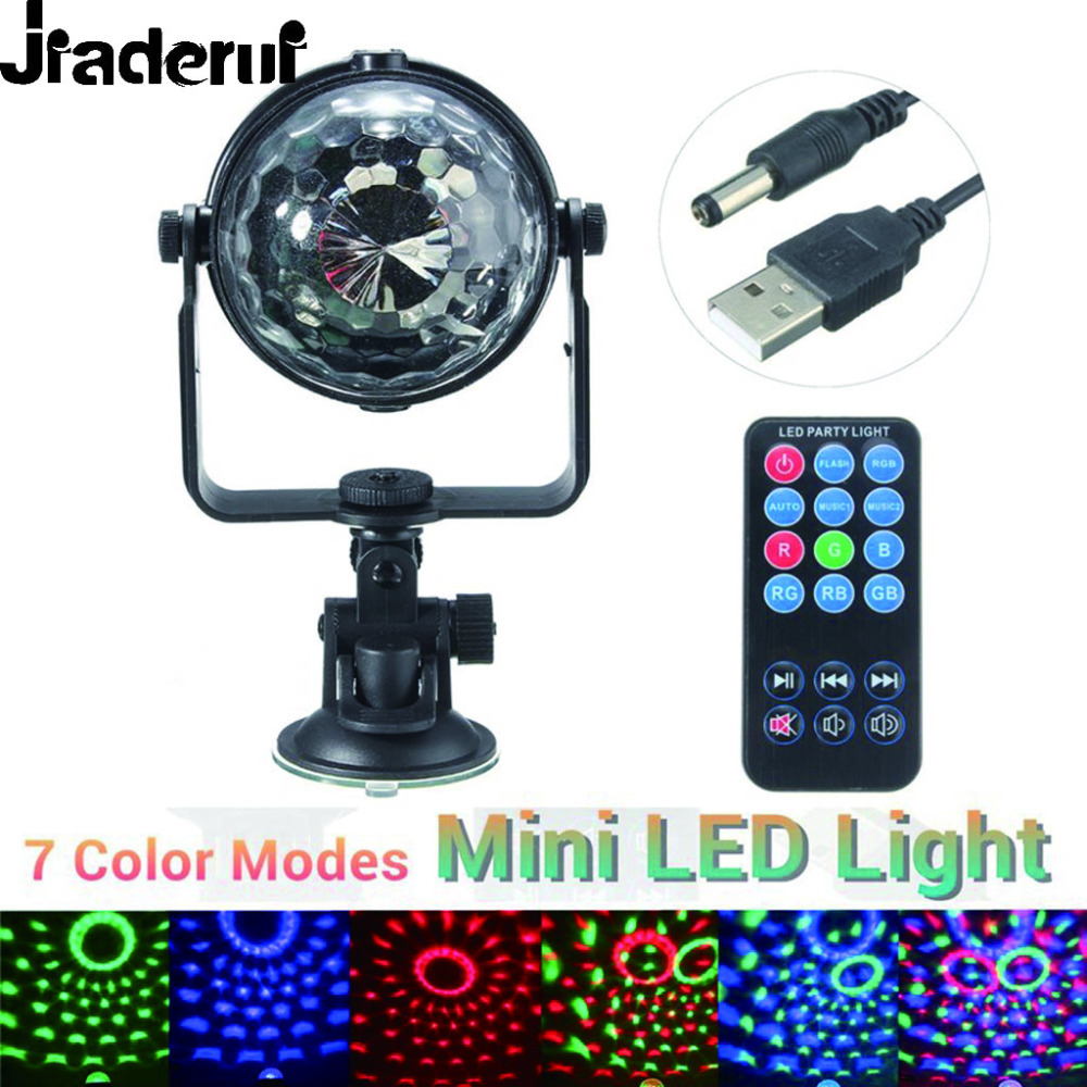 Jiaderui RGB LED Stage Lights 3W Remote Control Lamps USB Disco Ball Lamp Holiday Party Lights With Flashing Lighting Effect