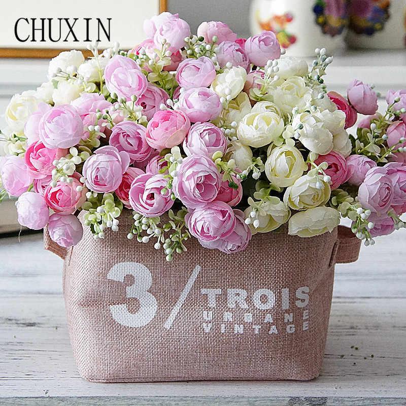 Buatan 15 Kepala Persia Teh Mawar Diy Rumah Ruang Tamu Dekorasi Palsu Bunga Pernikahan Bride Bunga Hadiah Natal