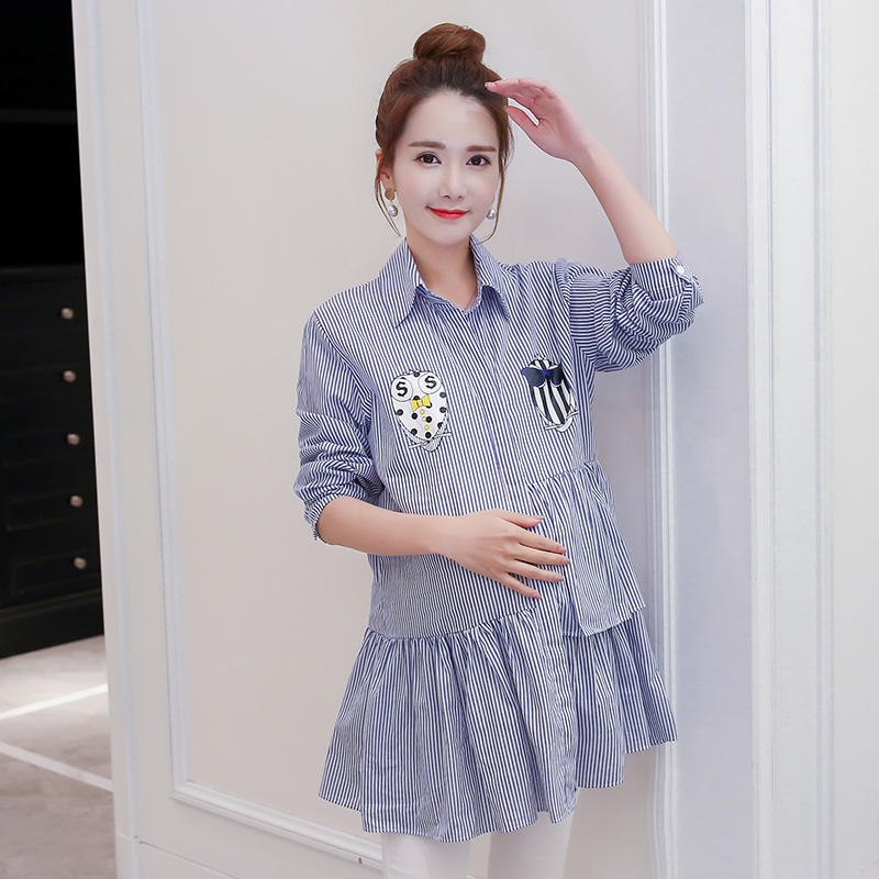 Make spot han edition pregnant women pregnant women fall clothing stripe printing maternity clothes loose shirt jacket the pregn