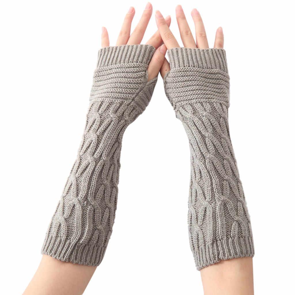 Guantes de invierno de alta calidad para mujer, guantes de invierno elegantes, guantes de punto para mujer, guantes de lana de imitación, cálidos, sin dedos, Hx08