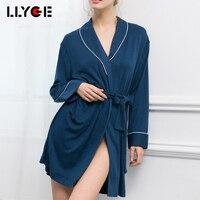 LLYGE 2018 Women Autumn Cotton Soft Bath Robe Sexy Solid Long Sleeve Belt Sleepwear Nightwear Female Kimono Elegant Robe