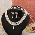 Coreano tiara de flores de luxo de jóias jóias terno de três peças conjunto de acessórios de cabelo
