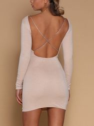 2018 Autumn Sexy Women's Bodycon Backless Party Cocktail Slim Short Mini Dress Fashion Long Sleeve Sheath White Mini Dresses 6