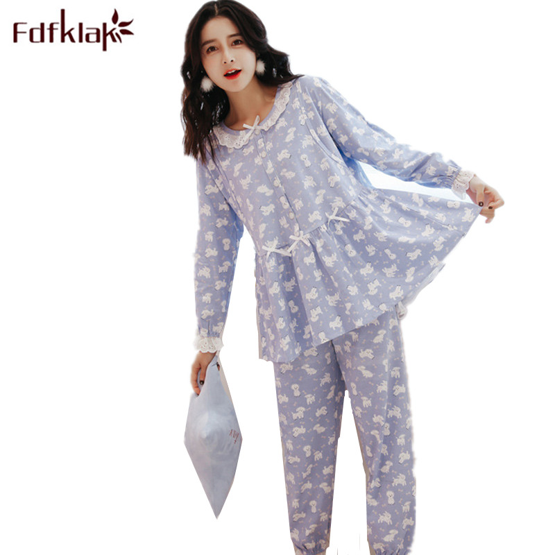 Fdfklak 2018 Spring Autumn Long Sleeve Cotton Maternity Pyjamas Pregnant Clothes Maternity Nurse Pajama Plus Size M-XXL F85