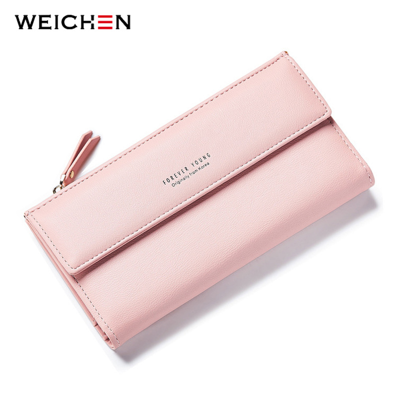 WEICHEN Fashion Korean Style Long Women Wallets Phone Coin Pocket Credit Card Zipper Solid PU Leather Purse Woman Money Bag ybyt brand 2017 new fashion simple solid zipper long women standard wallets hotsale ladies pu leather coin purses card package