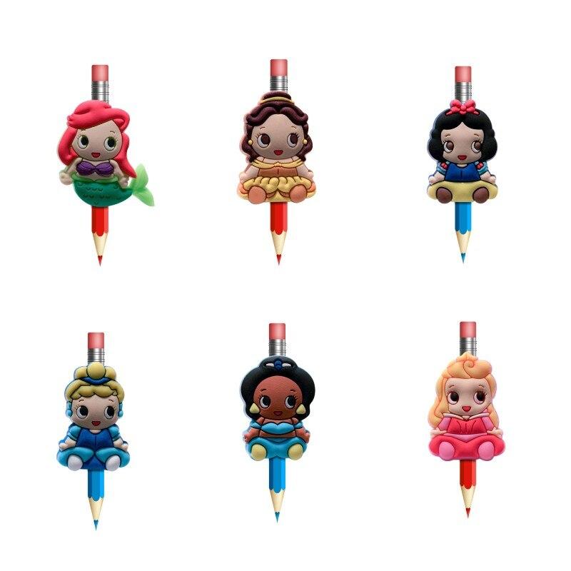 8pcs/lot Lovely Cartoon PVC Pencil Topper Pen Cover Pencil Caps Grips Stationery Set School/Office Supplies Kids Xmas Gift