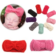 Sweet Kids Turban Ear Warm Headband Crochet Knitted Bow Hairband Head Wrap Hair Bands Accessories for K