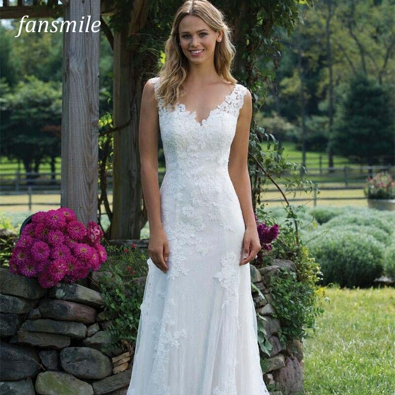 Fansmile New Vestido De Noiva White Lace Mermaid Wedding Dress 2019 Train Plus Size Customized Wedding Gown Bride Dress FSM-466M