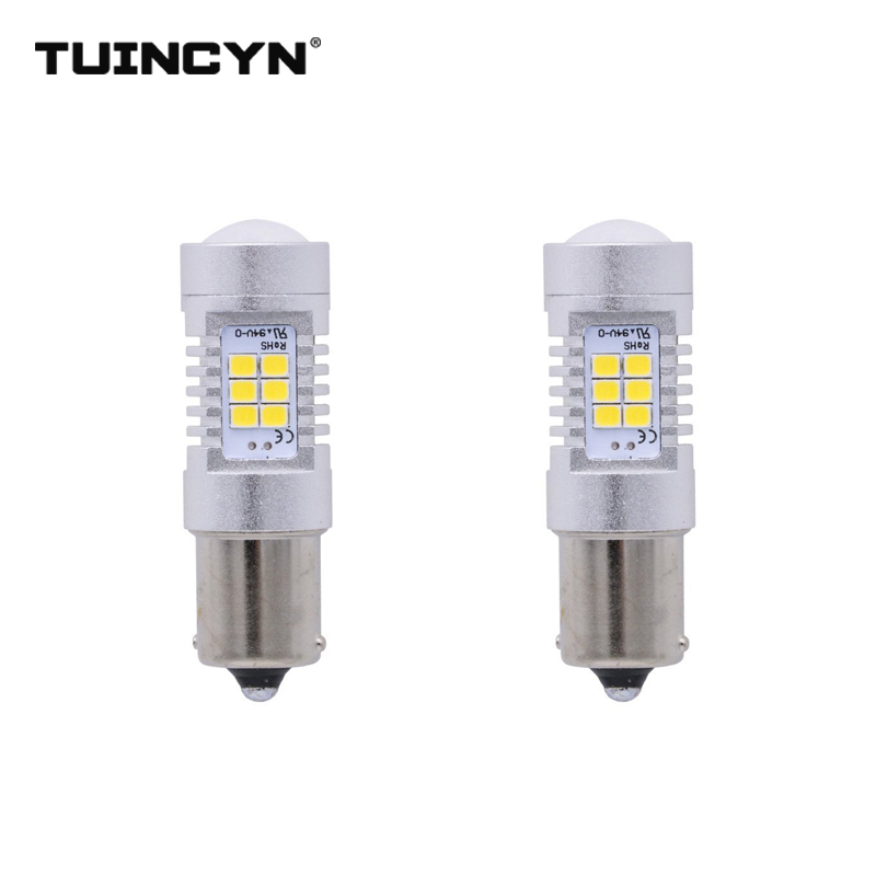 TUINCYN 2pcs LED Signal Light 1156 BA15S 2835 21SMD 80W High Power 12V Lens Turn Signal Back Up Reverse Tail Brake LED Light
