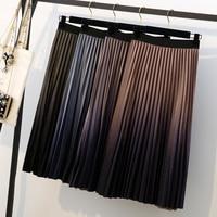 High Waisted Gold Velvet Skirt for Women Summer Gradient Color Skirt High Quality Pleated Skirts A Line Female School Skirt