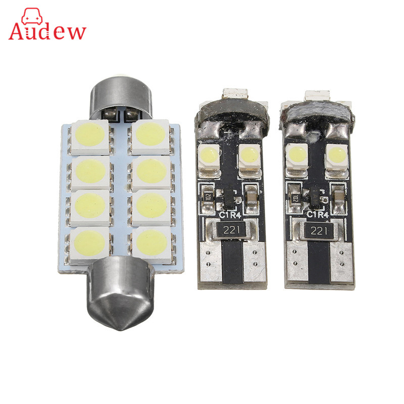 3X Car Auto LED T10 SMD 5050 W5W LED Car Side Wedge Tail Dome Reading Light Lamp Festoon Bulb For VW T5 Transporter