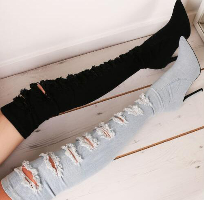 2018 New Design Women Pointed Toe Over Knee Denim High Heel Boots Cut-out Slim Style Long Jean Boots Dress Shoes2018 New Design Women Pointed Toe Over Knee Denim High Heel Boots Cut-out Slim Style Long Jean Boots Dress Shoes