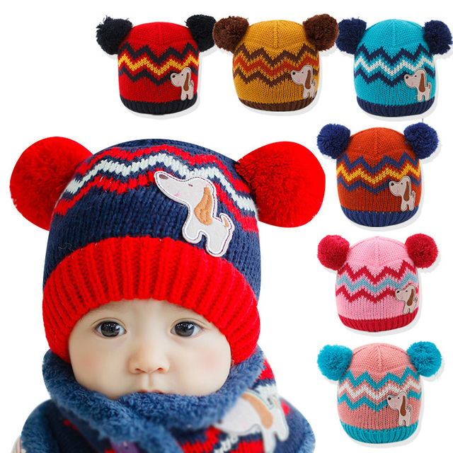 Thick Warm Cozy 1pieces Cute winter hats Suitable 6-36 months old star baby  hats Dog ear cap Children s Kit Lens Cap kids cap 07e4a202622