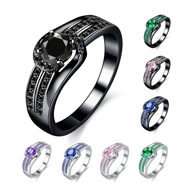 MDEAN Black Gold Color Wedding Rings for Women Engagement black AAA Zircon Jewelry Femme Bijoux Bague Size 6 7 8 9 10 H437
