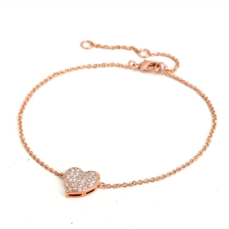Top Quality ZYH188 Micro insert technology Heart Rose Gold Plated font b Bracelet b font Jewelry