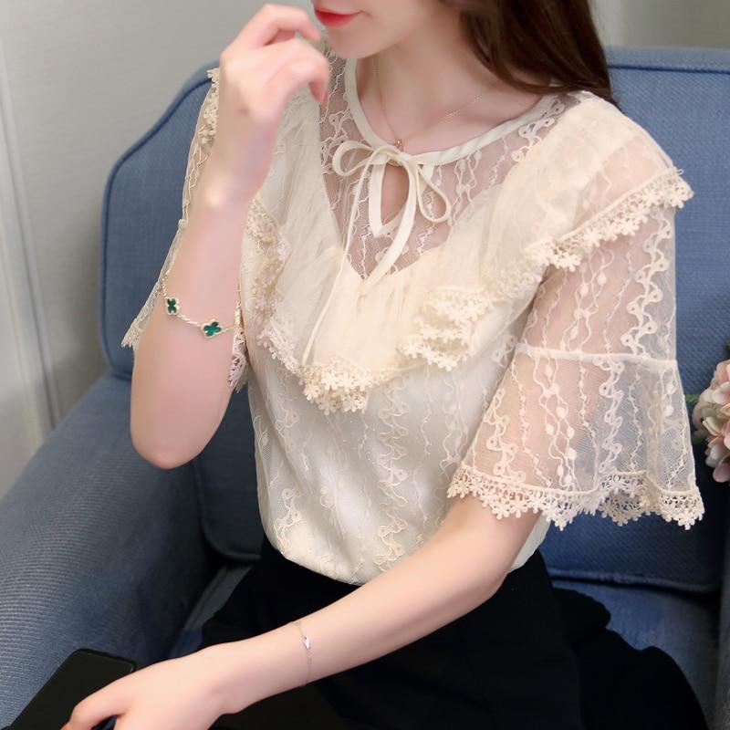 Dingaozlz 2018 new fashion mesh stitching lace tops elegant female bow lace shirt korean casual clothing women blouse