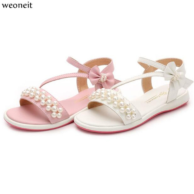 Weoneit Summer Style Children Sandals Girls Princess Beautiful Pearls Shoes  Kids Flat Sandals Baby Girls Bowtie Shoes 7a4ebd0adc2e