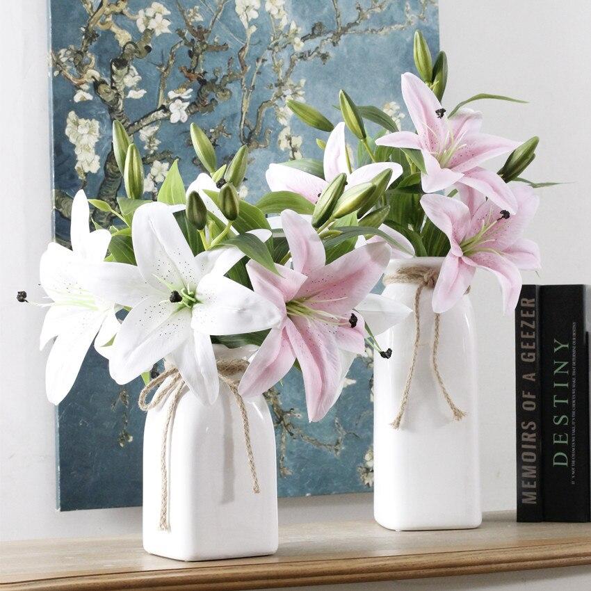 Kunstliche Lilie Real Touch Blumen Hochzeit Dekoration