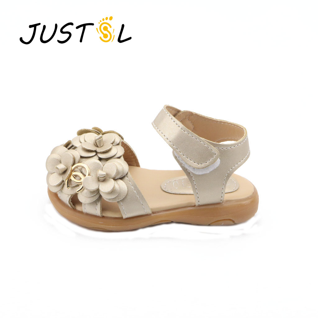 JUSTSL Kids Shoes Girls 2017 New Summer Female Child Girls Sandals Flower PVC Princess Baby Girls Shoes Fashion Sandals