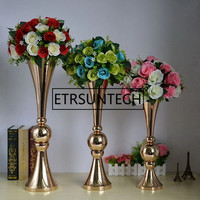 44cm 54cm 65cm Gold Silver Floor Flower Vase Mariage Table Centerpiece Metal Flower Vase Stands For Home Wedding Decoration