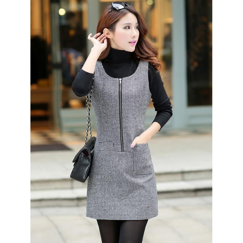 Autumn And Winter Dress Women Sleeveless Pullover Woolen