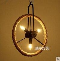 Vintage industriële wind ijzeren Touw Wiel hanglamp voor Cafe Restaurant Bar hanglamp