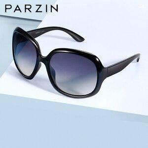 Image 1 - Parzin óculos de sol feminino designer de marca elegante grande quadro polarizado uv 400 senhoras máscaras com caso