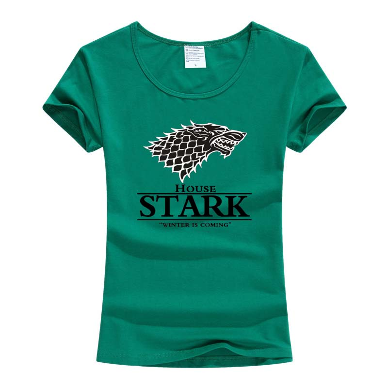 2017 t-shirt Women Kurzarm t-shirt Game of Thrones Das Haus Stark Winterfell Wolf T-shirts