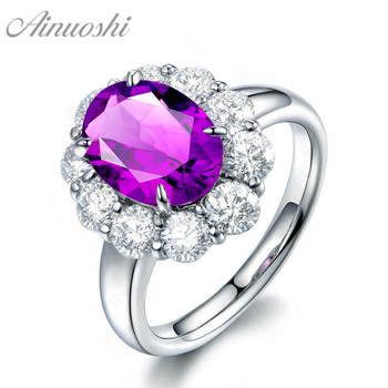 AINUOSHI Natural Amethyst Big Halo Ring 3 Carat Oval Cut Gems 925 Sterling Silver Ring Engagement Party Fine Jewelry Women Ring