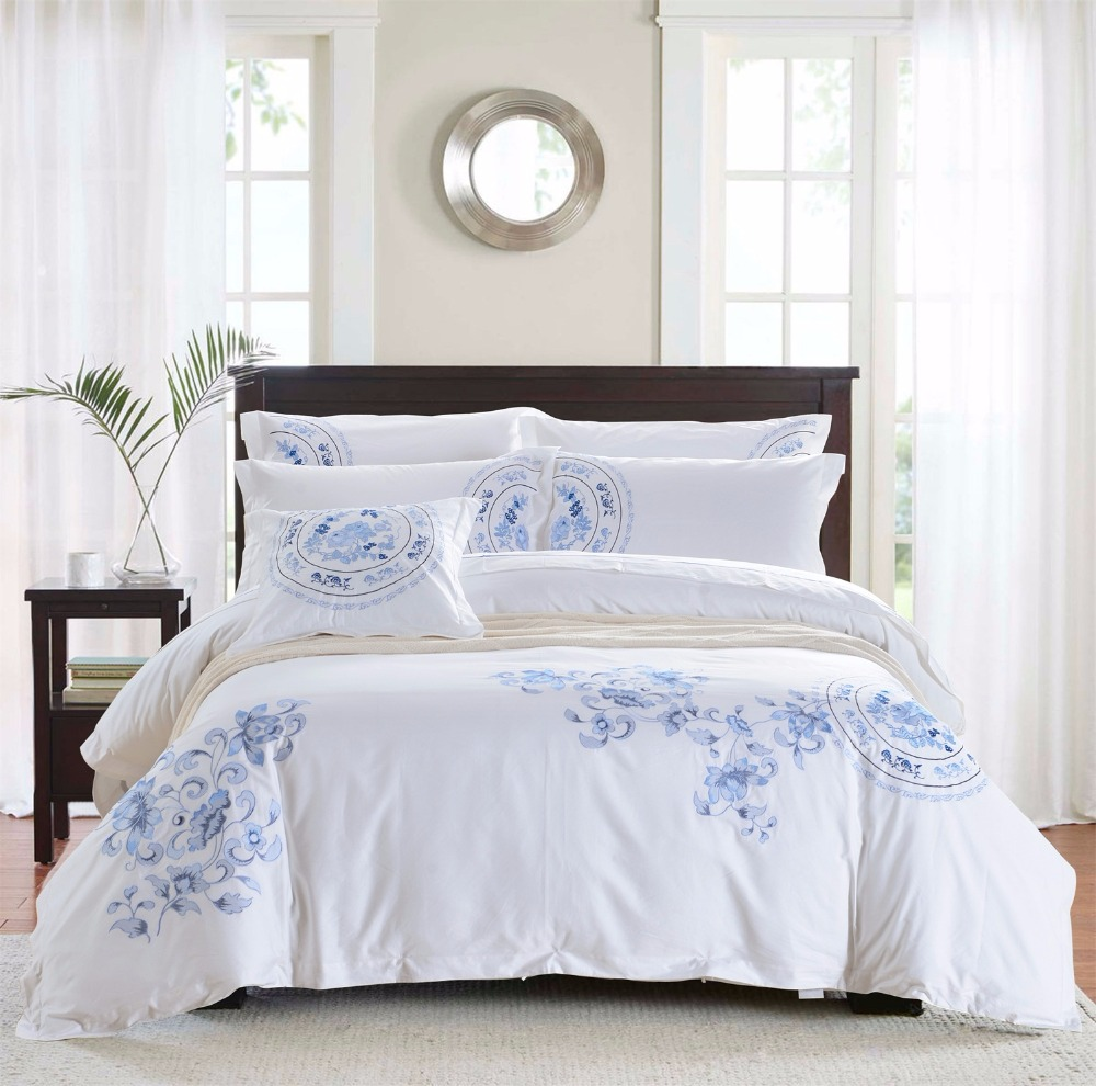 Blue And White Porcelain Embroidery Patterns Bedding Set 100 Cotton