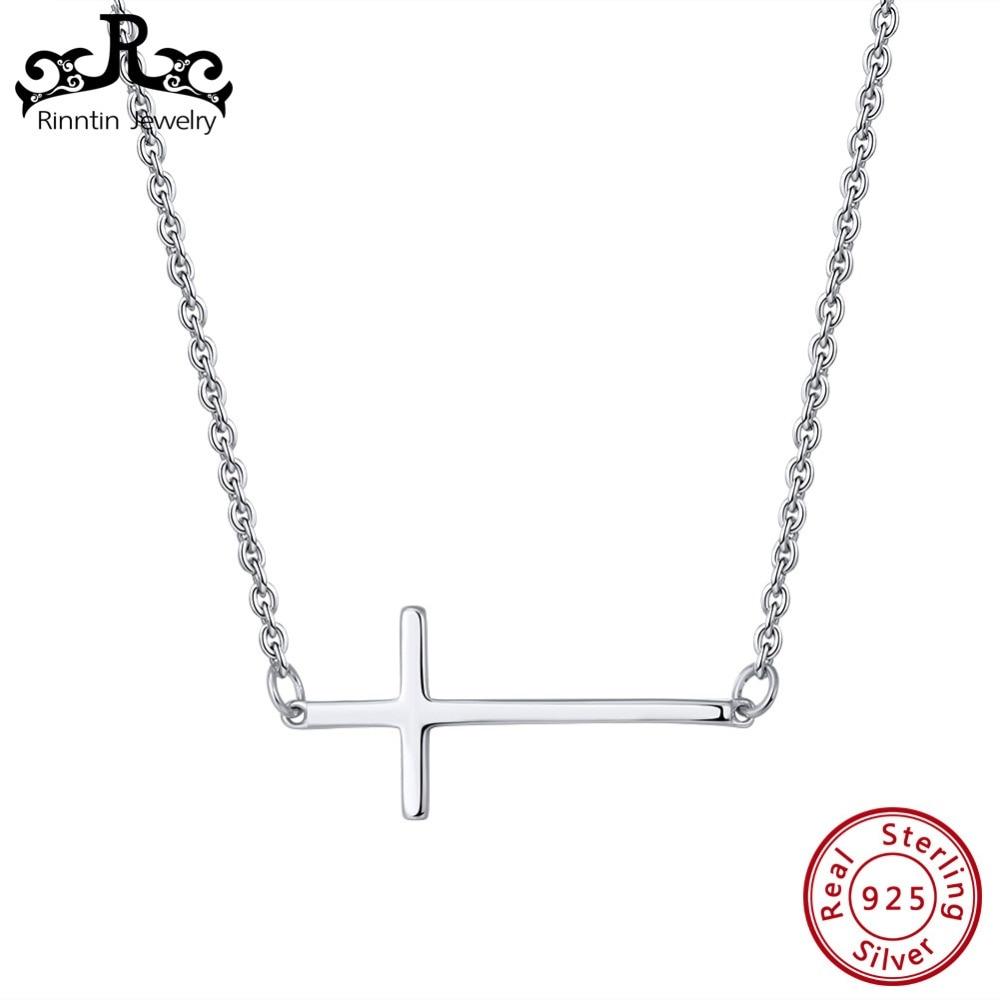 Anhänger Rinntin 100% Echt 925 Sterling Silber Halsketten Anhänger Für Frauen Einfache Design Kreuz Form Anhänger Weibliche Feine Schmuck Tsn110 Up-To-Date-Styling