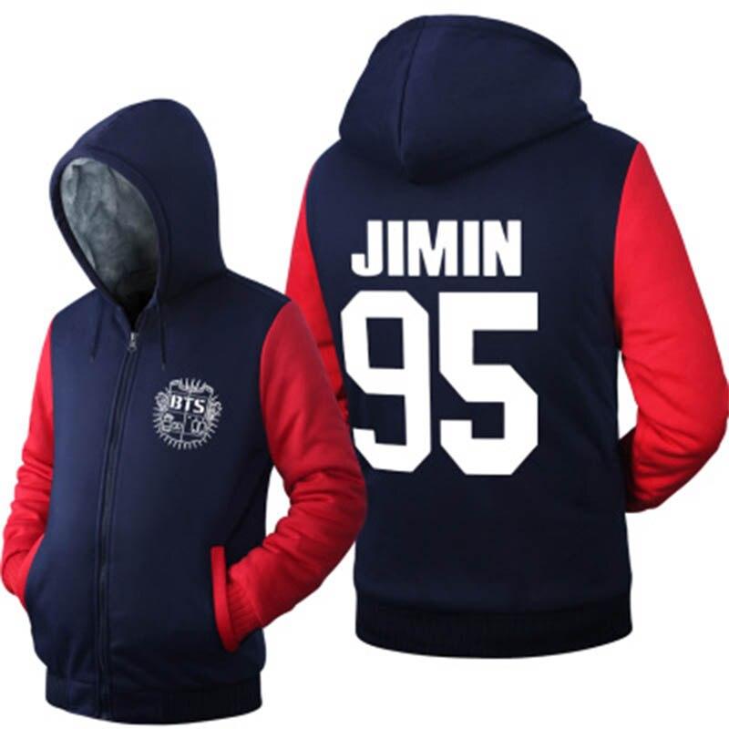 New Kpop BTS Bangtan Boys Fleece Lined Hoodies for Women Men Cute Girls Hooded Sweatshirts Fans Jacket USA Size