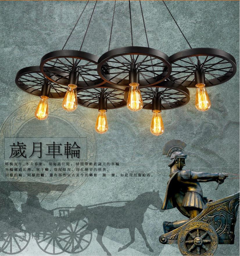 цена на 1/3/6 Lights American Vintage Loft Style Wheels Chandelier Creative Windmill Sail Lamp E27 For Bars Decoration Free Shipping