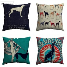 Greyhound Dog Simple Cartoon Artwork Decorative Pillow Covers For Sofa Home Decor Linen Cushion Case 45x45cm