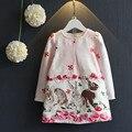 Retail 2017 Primavera 100 algodón de alta calidad fresca de conejo princesa de la muchacha del vestido 2-7Y