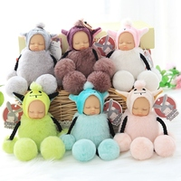 16cm Lovely Cute Suspending Foot Sleeping Baby Doll Pendant For Bag Keychain Plush Toy