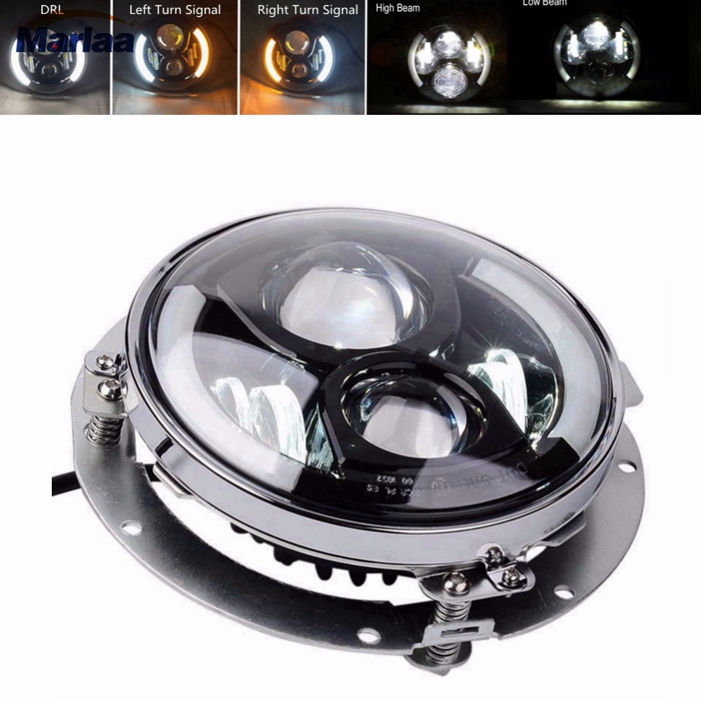 "Marlaa 7"" Inch Round LED Headlight High Low Beam With 7"" Bracket Ring Support For Motorcycle"