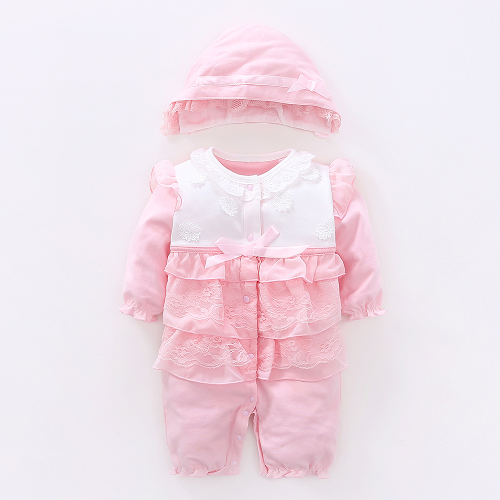 Baby Girl Knitted Rompers+hat 2pcs Princess Newborn Baby Clothes Girls Boys Long Sleeve Jumpsuit Kids Baby Outfits Clothes autumn winter baby clothes toddler boys girls rompers one piece letter printed long sleeve jumpsuit kids baby outfits clothing