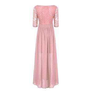 Image 3 - Vestidos da dama de honra, elegante, feminino, meia mangas, bordado, renda, chiffon, longo, para festa de casamento, baile, dama de honra, formal