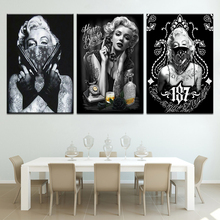 Tattoo Marilyn Monroe Art Prints Black White Pop Poster 3 panel modern Modular poster wall stickers home decoration