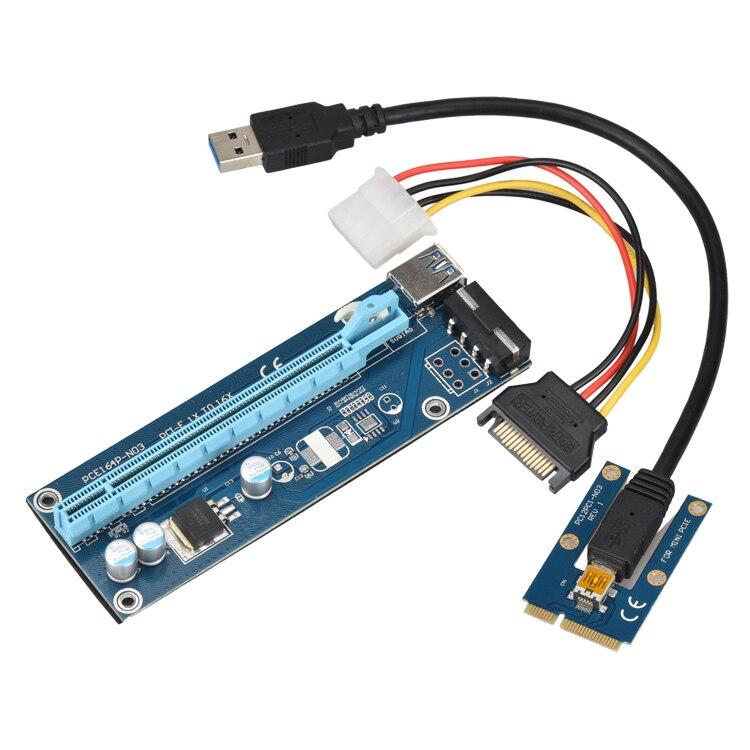 Mini PCIe pci-e 16X Riser SATA a IDE Molex cable de alimentación USB 3.0 60 cm externa para el ordenador portátil de vídeo tarjeta exp GDC bitcoin minero
