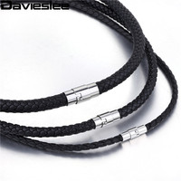 4 6 8mm Thin Black Braided Cord Rope Man Made Leather Necklace Silver Tone Stainless Steel