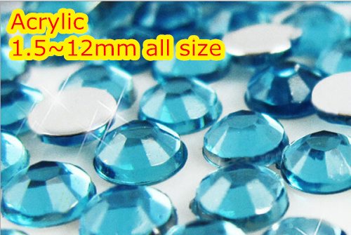 Aquamarine Color 1.5~12mm Flat Back Round Acrylic rhinestone,Acrylic Resin 3D Nail Art / Garment Rhinestone