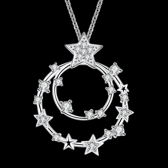 7c59f592e760 PATICO 2017 Nueva Venta Encantos Circonita Collares Forma de Estrella de  Plata de Ley 925 Para