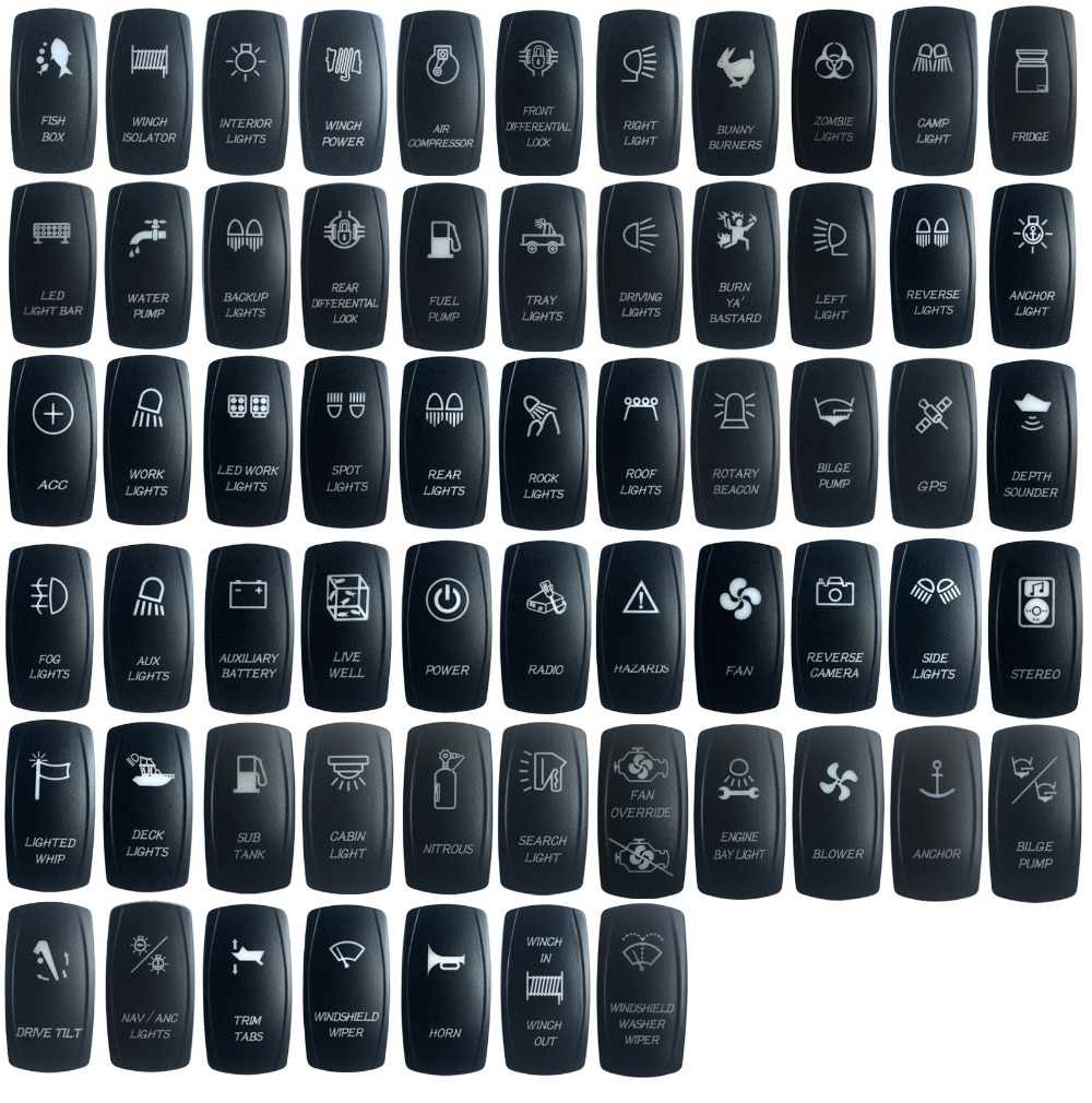 30pcspack Boat Car Truck Carling Rocker Switches Cover Cap Laser