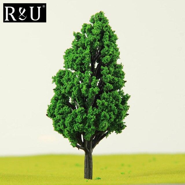 10 piezas Ho de plástico de escala de modelo en miniatura de los árboles para construir los trenes ferrocarril juego de diseño de paisaje, paisaje, Diorama Accesorios